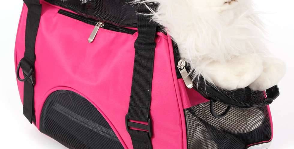Hollow-out Portable Breathable Waterproof Pet Handbag Rose Red