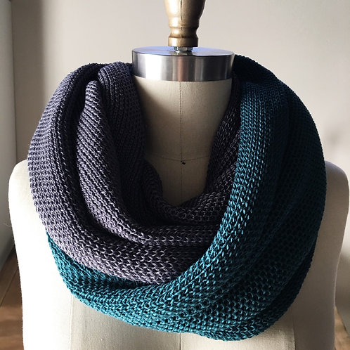 LUX Cowl in 100% Bamboo - Iron & Teal