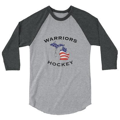 Michigan Warriors Hockey 3/4 Sleeve Shirt