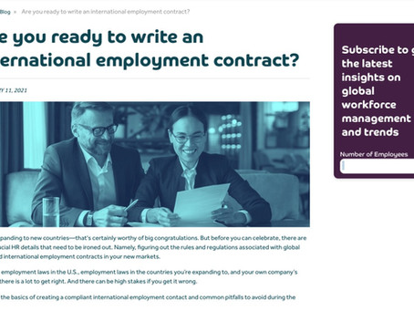 [Blog Post] Are You Ready to Write an International Employment Contract?