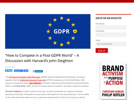 "[Blog Post] ""How to Compete in a Post-GDPR World"" – A Discussion with Harvard's John Deighton"