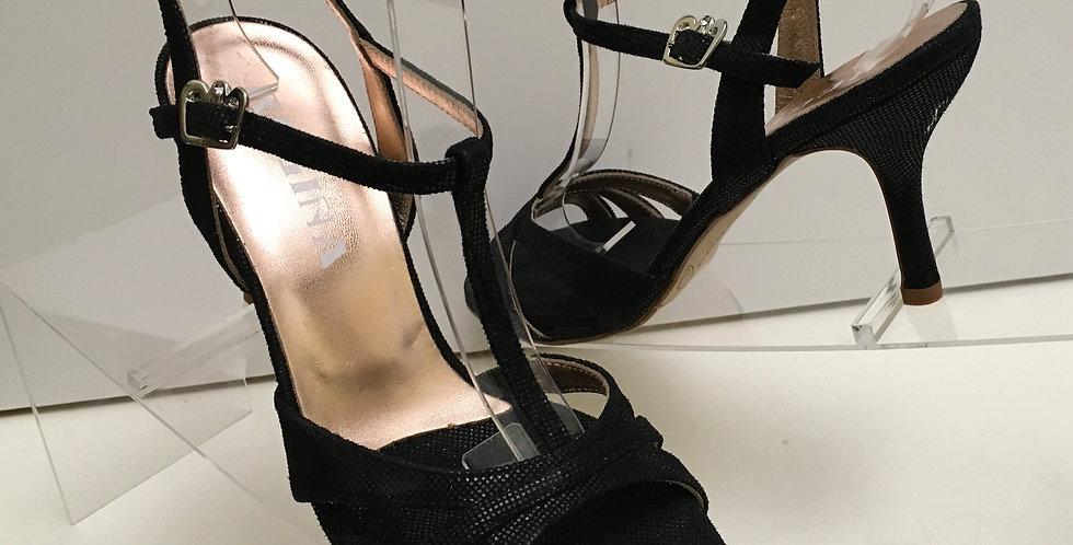 Regina Eva Twins Black T Strap, Slim, 7cm