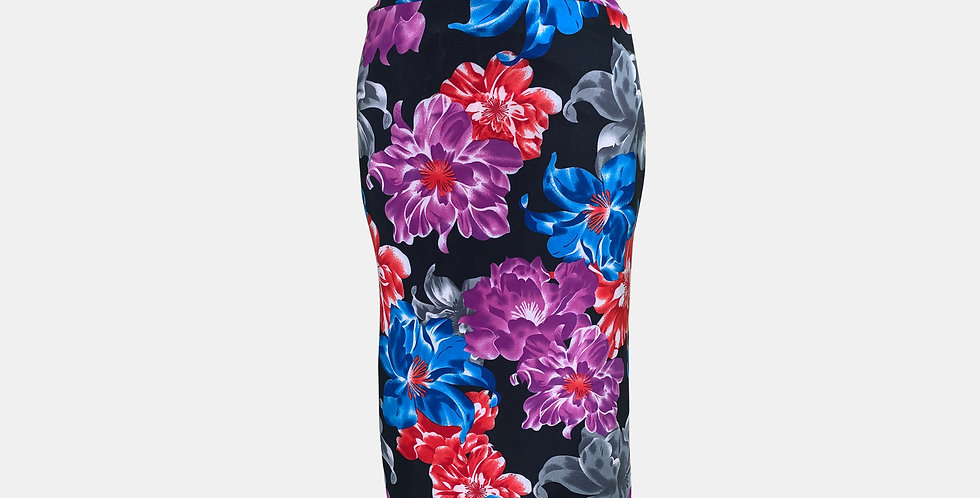 Tango Imagen Butt Skirt with Tail - Black with Multi Colored Flowers