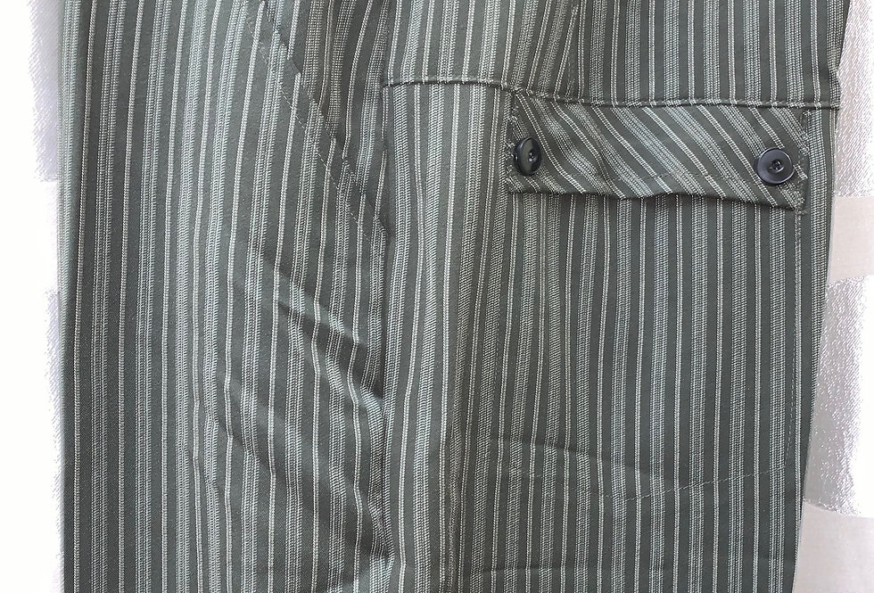 Gray with White Stripes - Flat Front