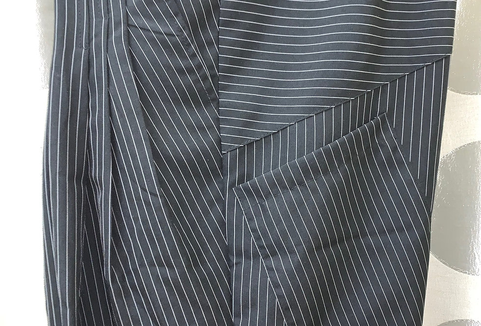 Black with White Pinstripe - Pleated