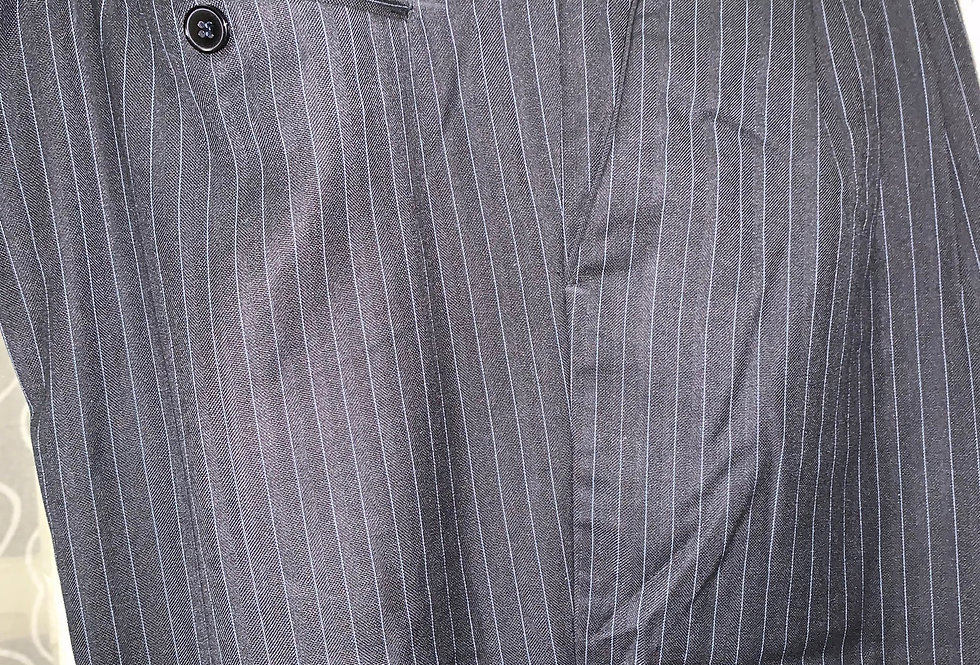Dark Blue with White Stripes - Pleated