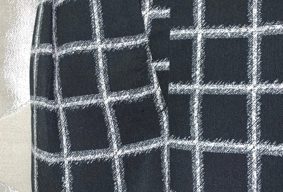 Black with White Squares - Light Fabric, Pleated
