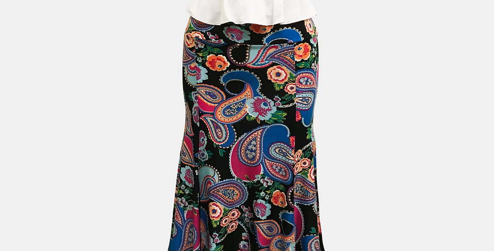 Roxanna Vincelli 7 Part Skirt - Pink, Black, Orange Paisley and flowers