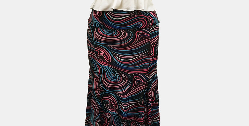 Roxana Vincelli 7 Part Skirt - Blue, light blue, Pink, Wiggly lines