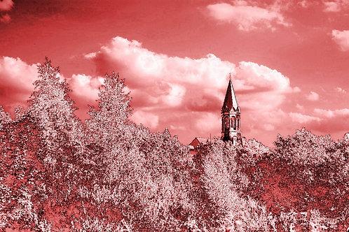 Kreuzeskirche Essen en rose
