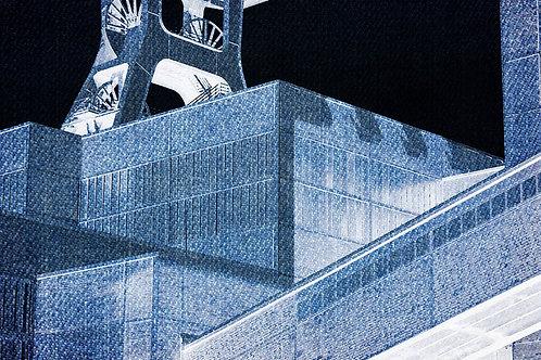 Schacht XII Zollverein Kubismus blau