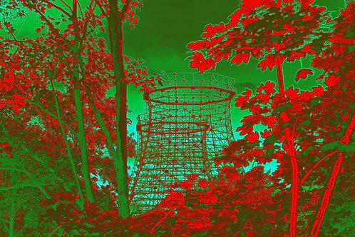 Kokerei Zollverein Kühlturm rotgruen