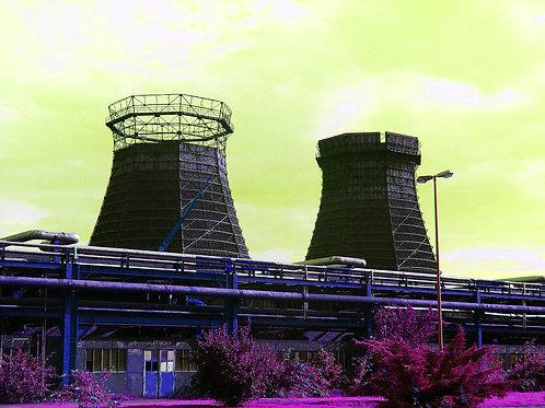 Kokerei Zollverein Kühltürme gelbpink