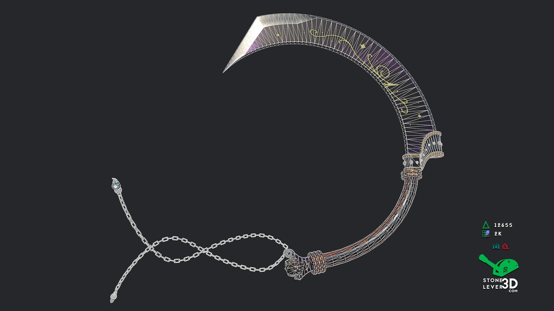 """""""J'Poki - Novacrusher"""" - Sword Concept Prop Model - Wireframe"""