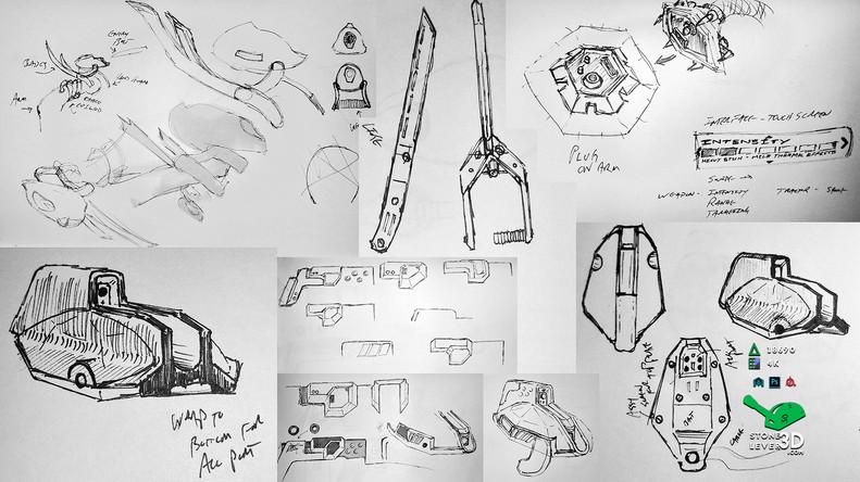 """""""Bio-Interface Tactical Platform AB-101X"""" - Weapon Concept Prop Model - Concept Sketches"""