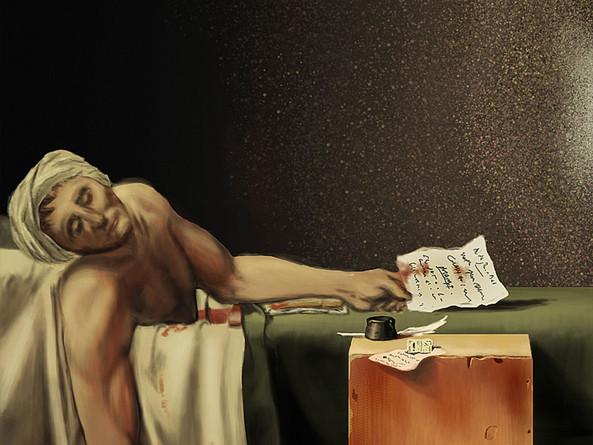 """Death of Marat"" Master Copy Digital Painting - Copy"