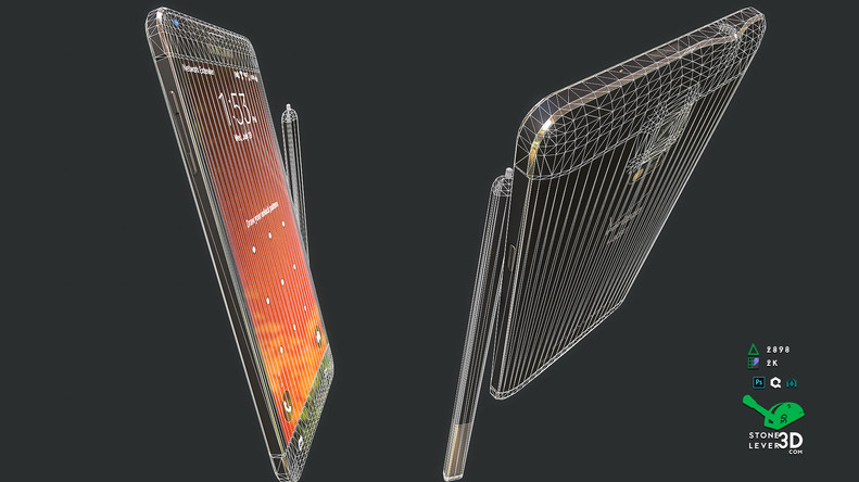 """""""Galaxy Note 4"""" Smartphone Prop Model - Wireframe"""