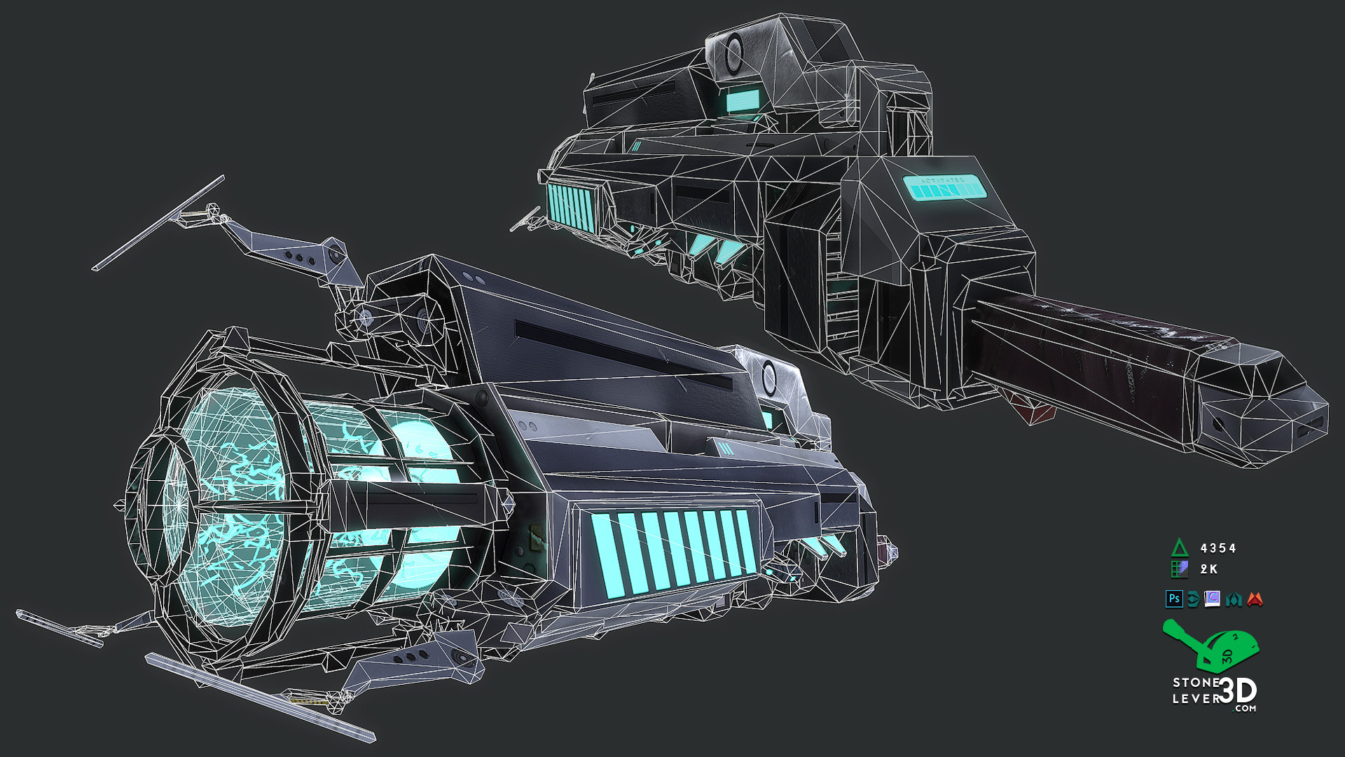 """""""Dream Gun"""" Weapon Prop Model - Wireframe"""