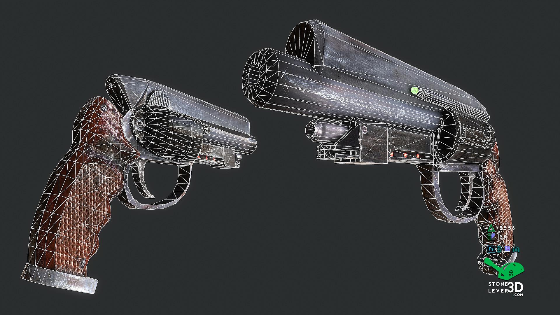 """That Gun"" Weapon Prop Model Replica - Wireframe"