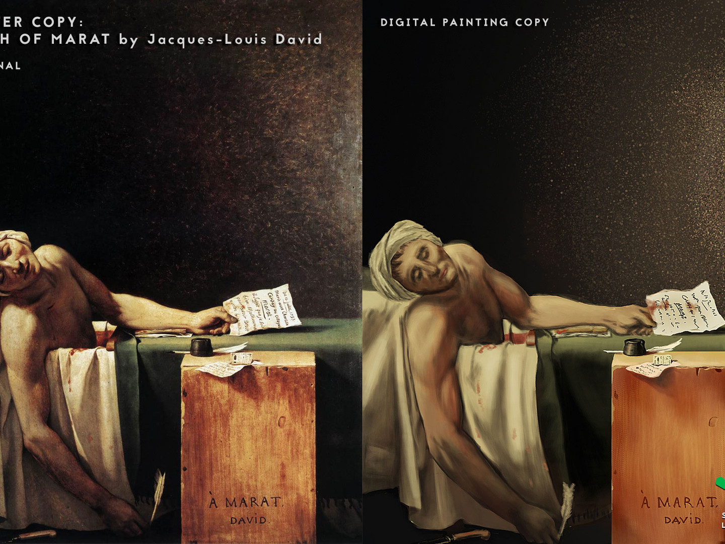 """Death of Marat"" Master Copy Digital Painting - Side-by-side"