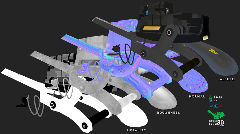 """Bio-Interface Tactical Platform AB-101X"" - Weapon Concept Prop Model - Texture Sheet"