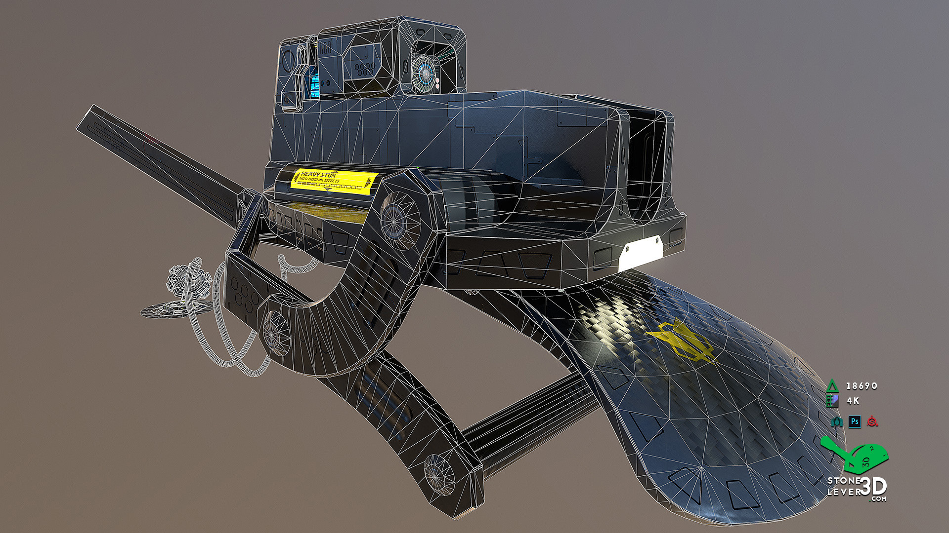 """Bio-Interface Tactical Platform AB-101X"" - Weapon Concept Prop Model - Wireframe"