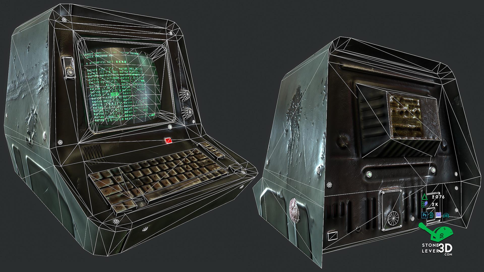"""PC Terminal"" Prop Model Replica - Wireframe"