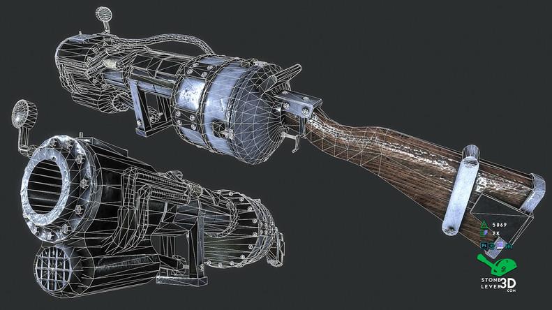 """Railway Rifle"" Weapon Prop Model Replica - Wireframe"
