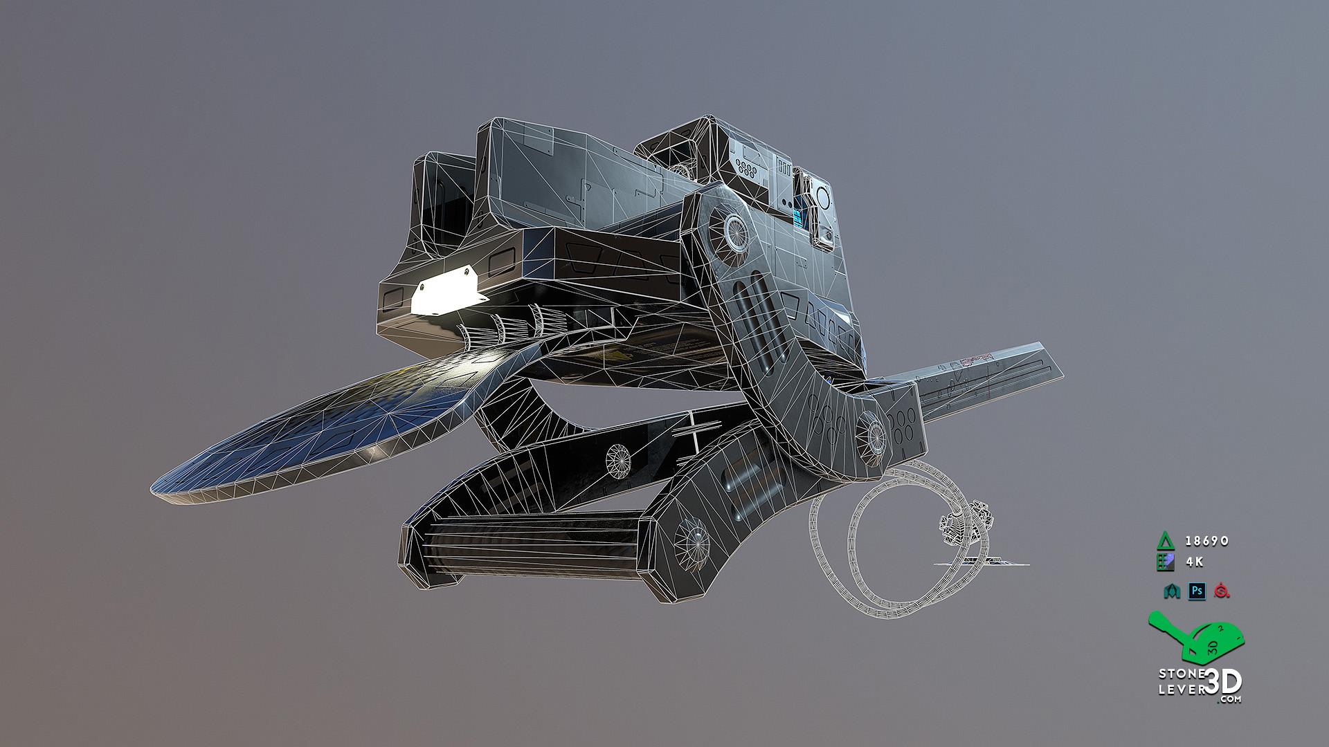 """""""Bio-Interface Tactical Platform AB-101X"""" - Weapon Concept Prop Model - Wireframe"""