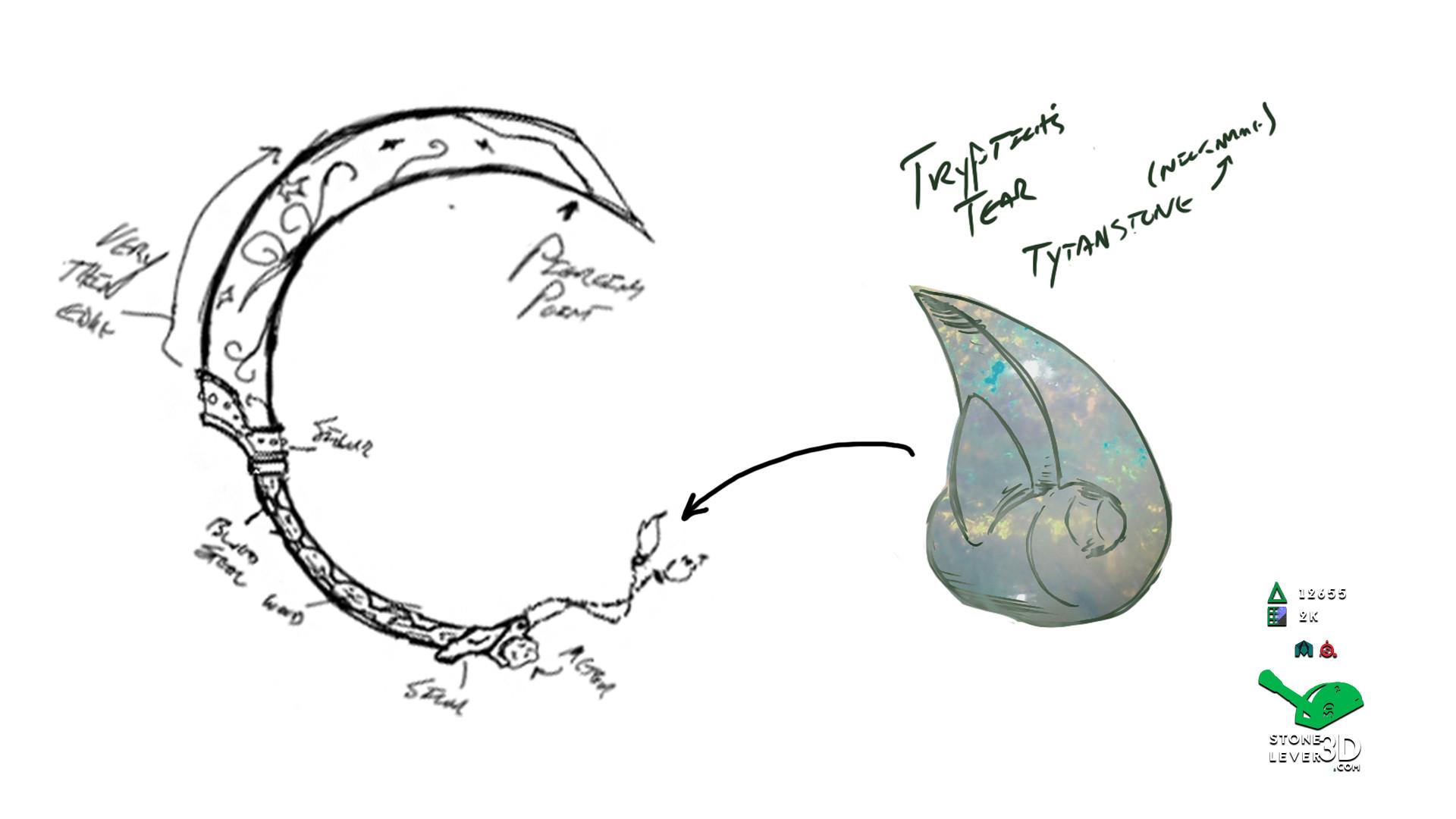 """J'Poki - Novacrusher"" - Sword Concept Prop Model - Concept Sketch"