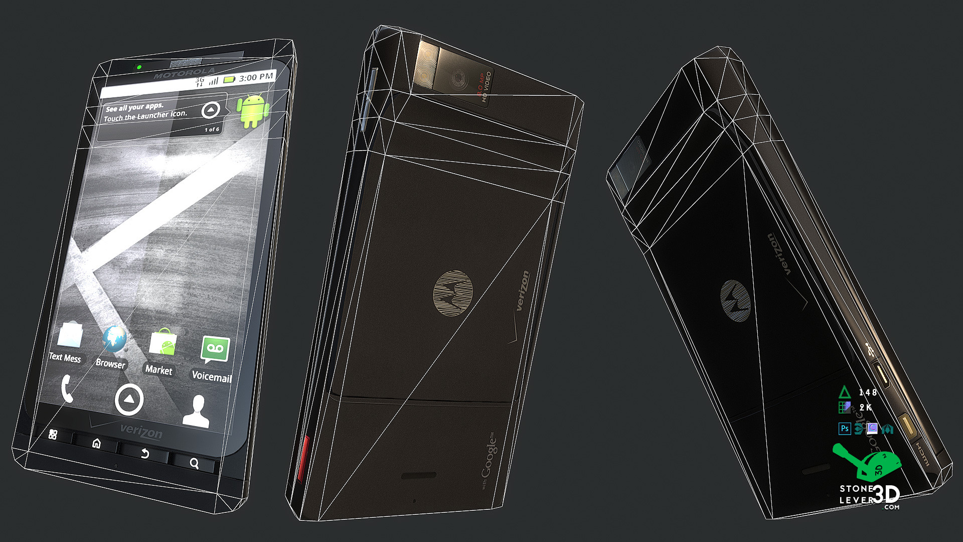"""""""Droid X"""" Smartphone Prop Model - Wireframe"""