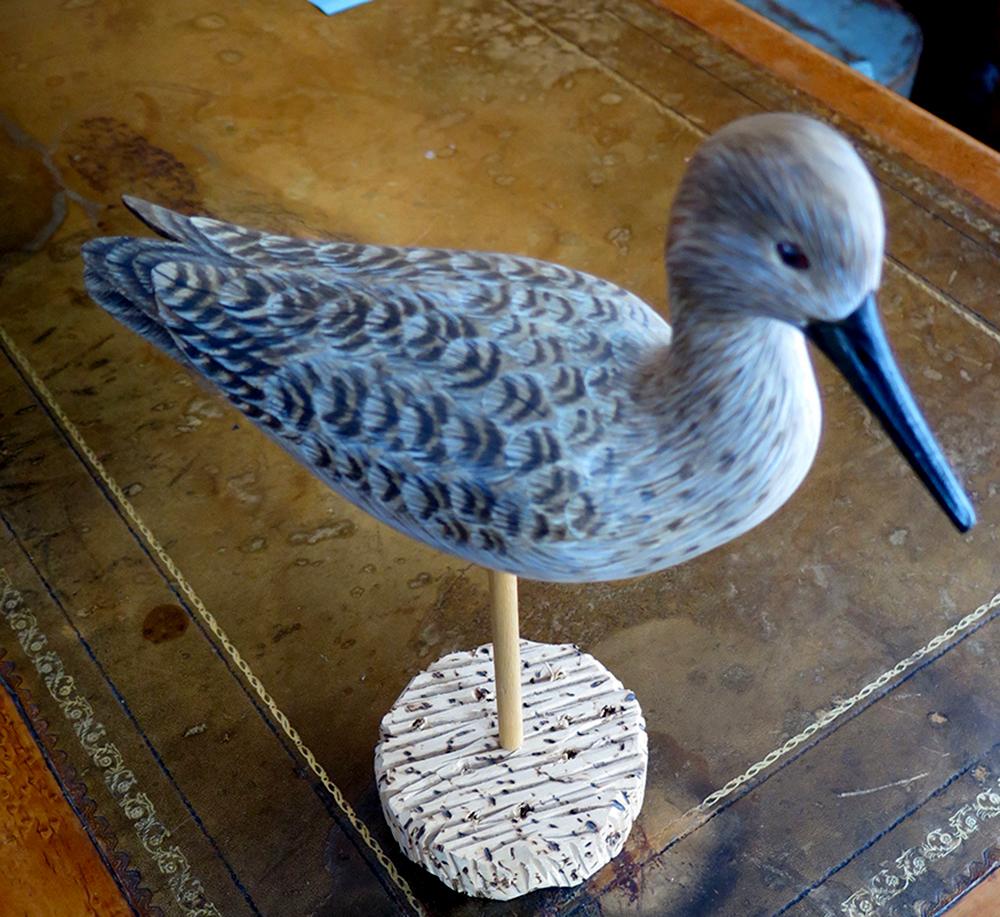 BirdCarvingLesserYelowLegs(LifeSize)14_SignedJohnBradshaw