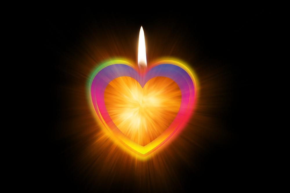 Kerze, Licht, Flamme, bunt, Regenbogen, Wärme