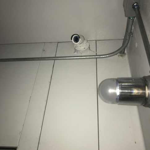 Bullet camera keeps and eye on the walk in freezer. Bullet cameras are the best choice for harsh conditions.