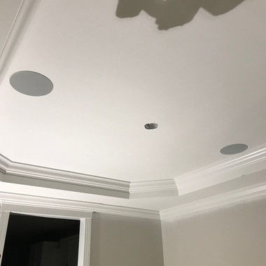Episode speakers trimmed out and looking sharp inside this dining room tray ceiling!