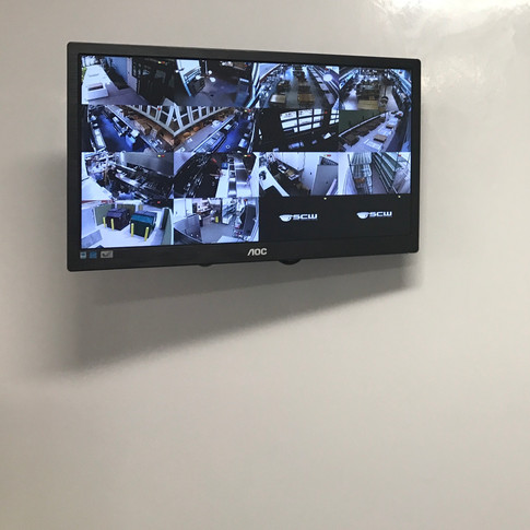 Finished Camera Install with Wall Mounted Viewing Monitor.