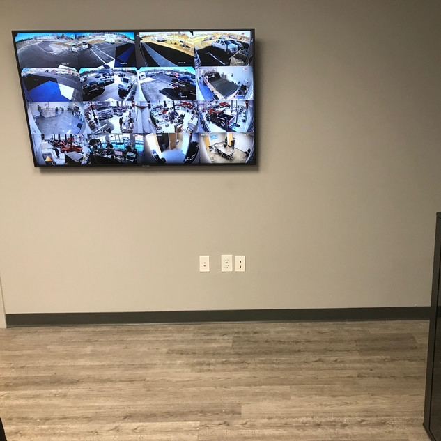 Viewing capability of the site's 16 IP cameras from the conference room.
