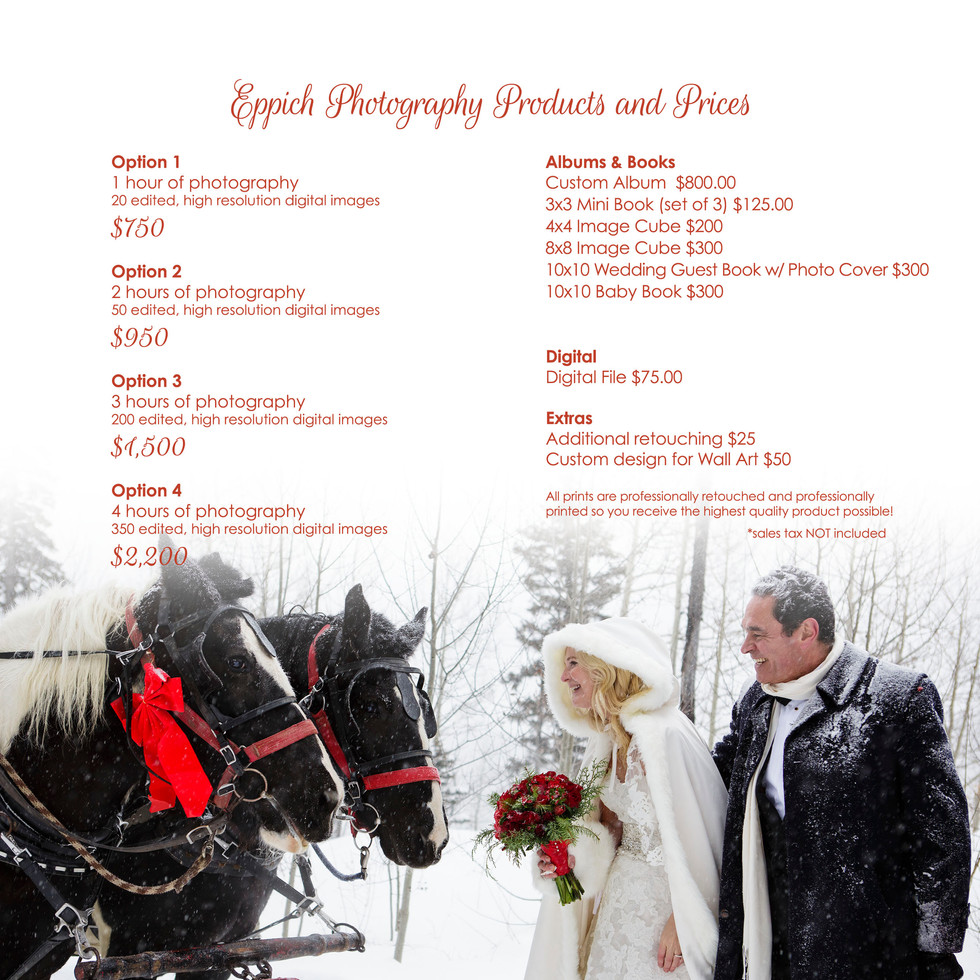 Small Wedding Photography Pricing