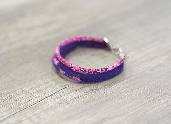 Bracelet en cordon de laine feutrée et coton
