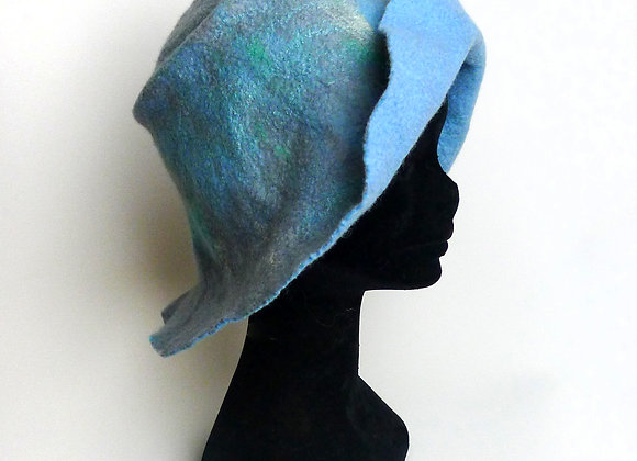 Chapeau en feutre de laine merinos et soie, gris vert