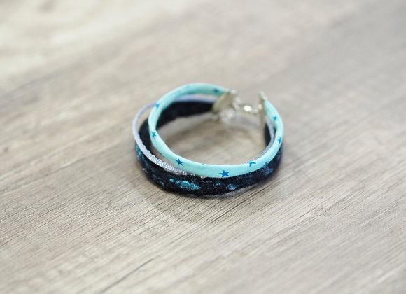 Bracelet en cordon de laine feutrée et coton bleu/noir