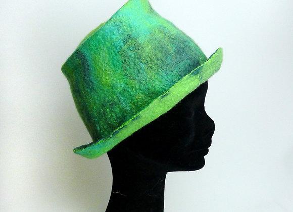 Chapeau en feutre de laine merinos et soie, vert