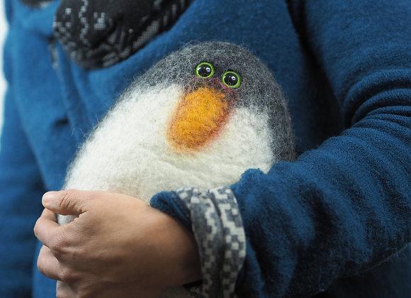 Grand Pingouin en laine feutrée