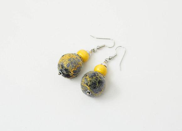 Boucles d'oreilles en perles feutrées
