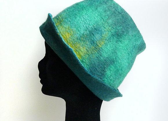 Chapeau en feutre de laine merinos et soie, vert menthe