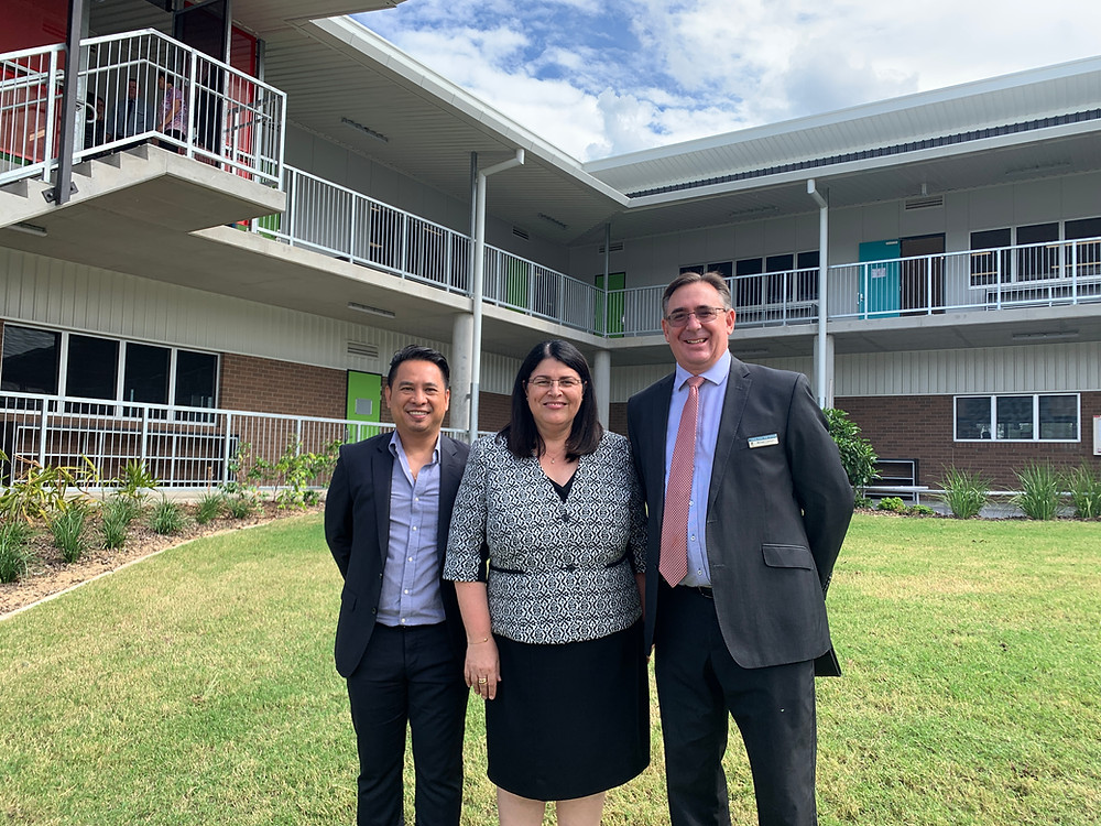 8i Architects Director Hieu Nguyen with Hon. Grace Grace Minister for Education and Mr Michael Clarkson Laidley State High School Principal