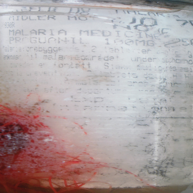 Plastic malaria tablets bottle sourced on Gwithian beach in the summer of 2000