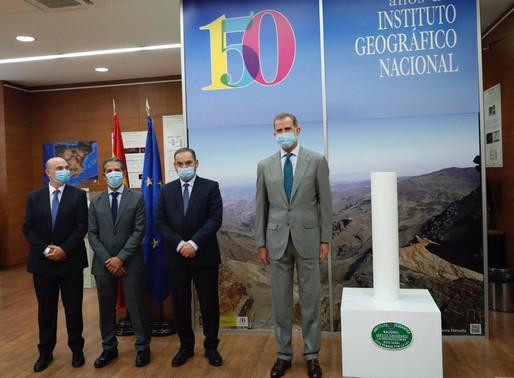 El Rey en la inauguración de la exposición 150º aniversario del Instituto Geográfico Nacional.