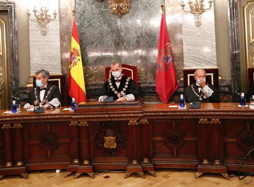 El Rey Felipe VI presidió este lunes el acto solemne de apertura del Año Judicial 2020/2021.
