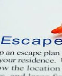"""The word """"escape"""" written as heading at top of written escape plan."""